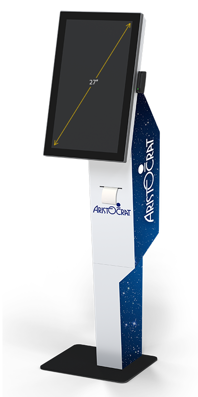 Our P21 kiosk, with a portrait  					27-inch display