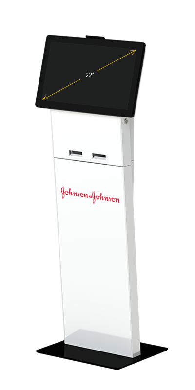 Our Slimline kiosk in visitors configuration, with a 22-inch display and simple branding