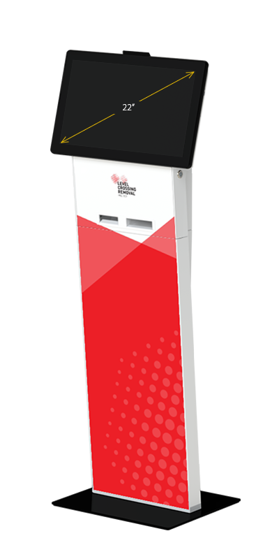 Our Slimline kiosk in visitors configuration, with a 22-inch display